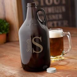Monogrammed Amber Beer Growler