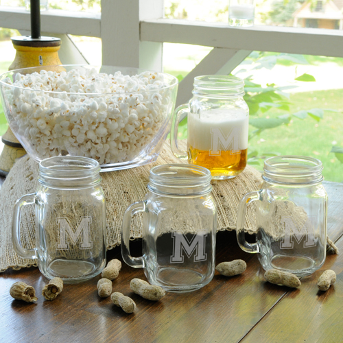 Personalized Collegiate Jar Glass Set