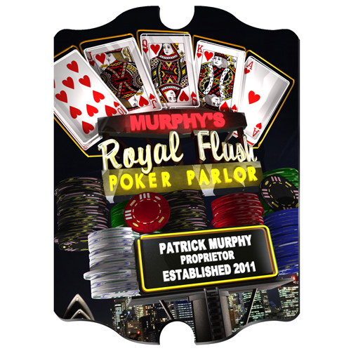 Personalized Marquee Nighttime Royal Flush Vintage Sign