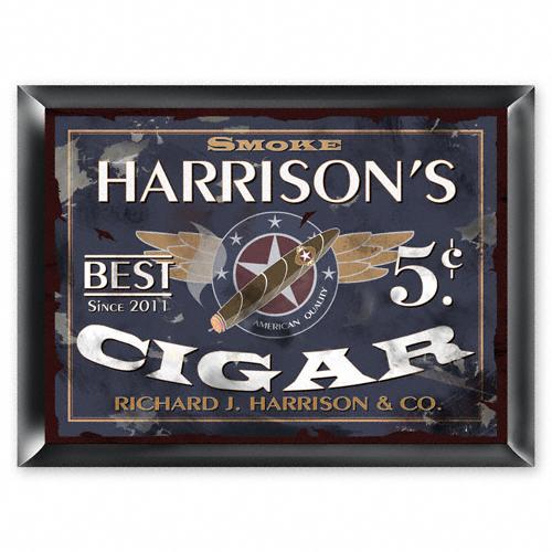 Personalized Patriot Cigar Pub Sign